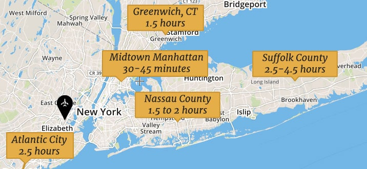 Map Of New York City Airports.Newark Airport Ewr To Manhattan New York City Nyc Golden Class Limo